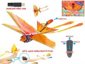 R/C Go Go Bird 18cm na baterie létající s USB žlutý 2,4GHz 8+ v krabičce