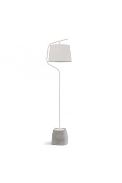 urban ls floor lamp made of cement and white varnished steel lampshade in white cotonette