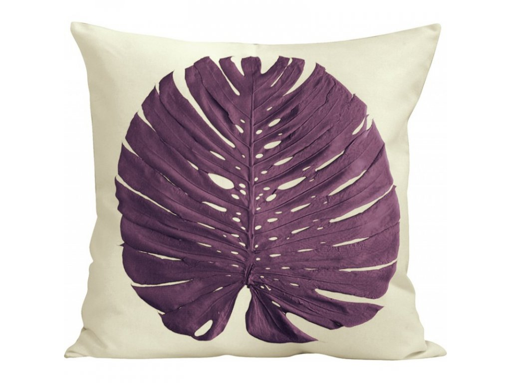 Dekorační polštář Phylomonstera fialový