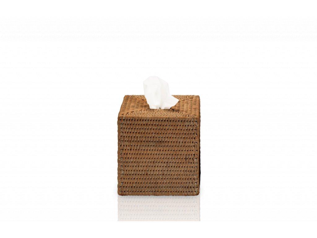 Čtvercový box na papírové kapesníky z tmavého ratanu Walther Decor