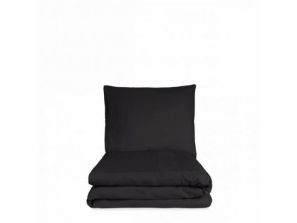 bed zachte katoen satijn met stonewashed linnen band dekbedovertrek off black design como 2