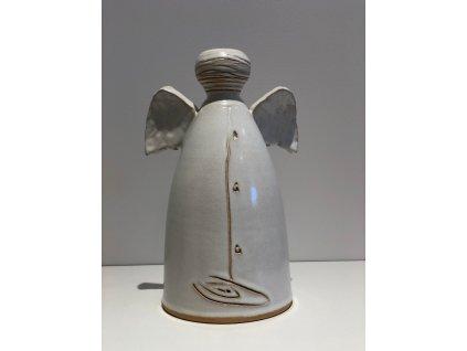 Dufek keramika Designový anděl - bílý