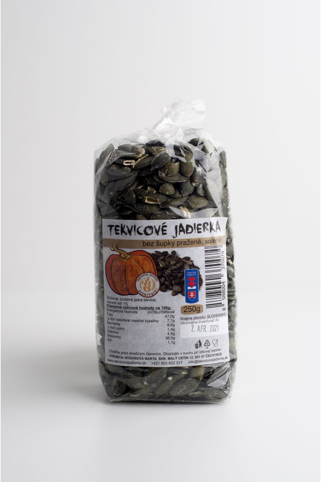 Tekvicové jadierka - bez šupky pražené, solené - 250g