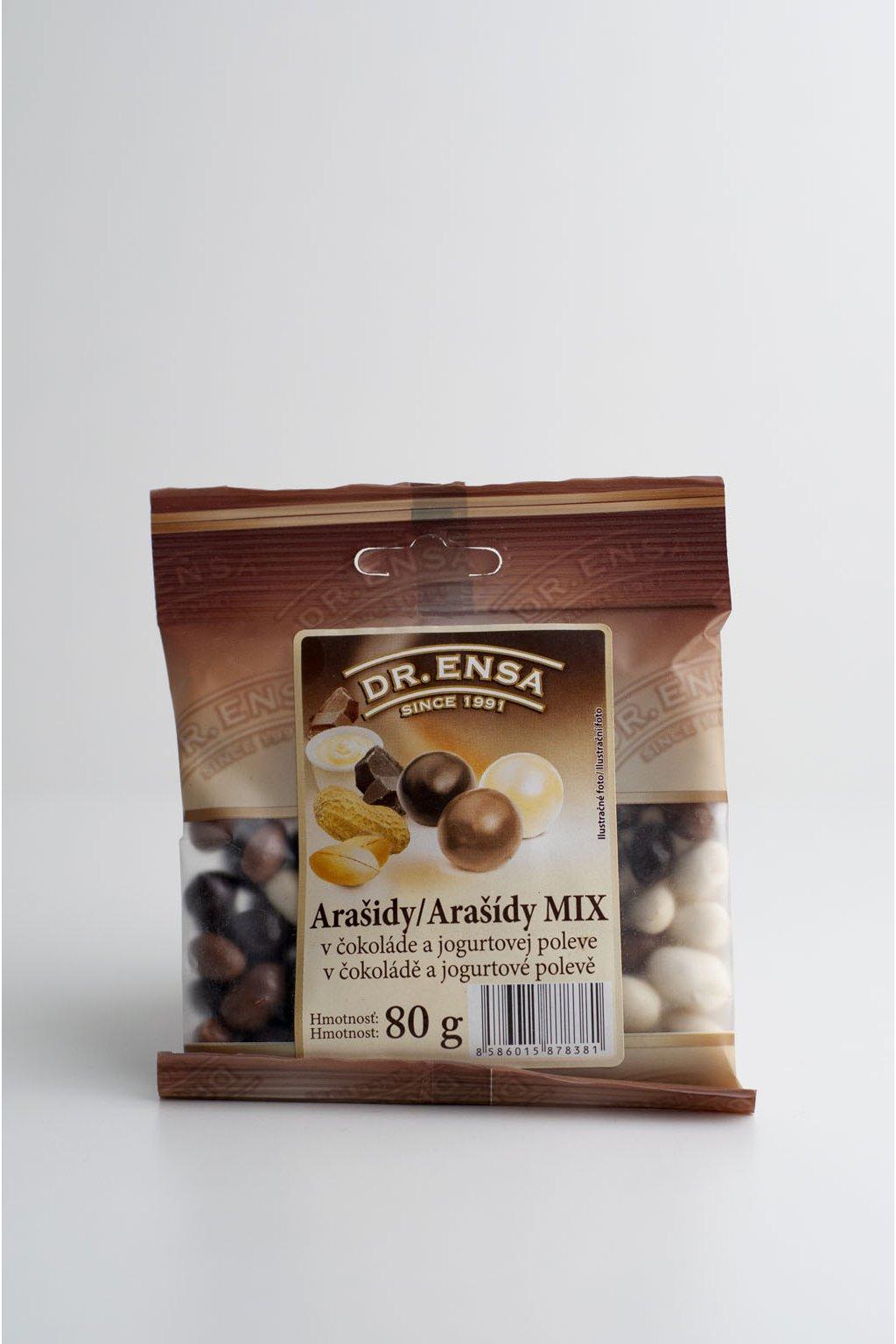 Arašidy MIX v čokoláde a jogurtovej poleve - 80g