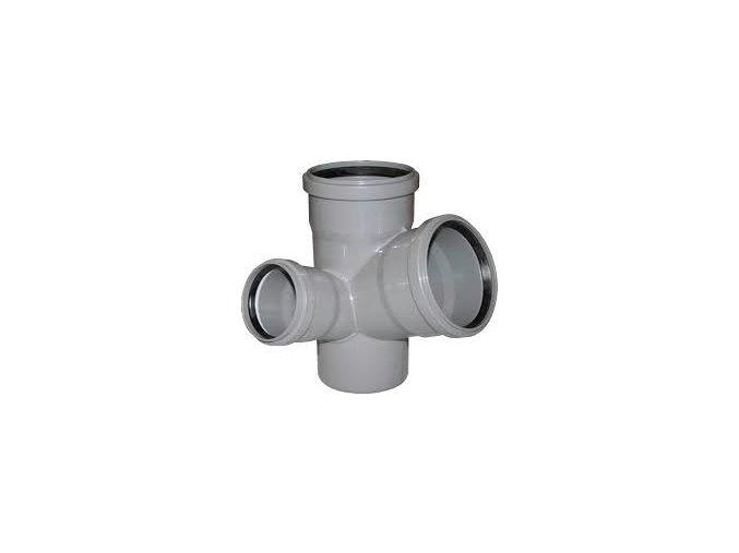 Odpadní HT rohová paneláková odbočka krátká s hrdlem - LEVÁ 110 x 110 x 75 pro vnitřní rozvody kanalizace v podlahách a zdech
