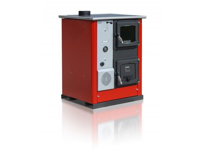 TEMY PLUS18 LEVÝ ČERVENÝ teplovodní sporák - interiérový kotel, teplovodní výkon 13kW