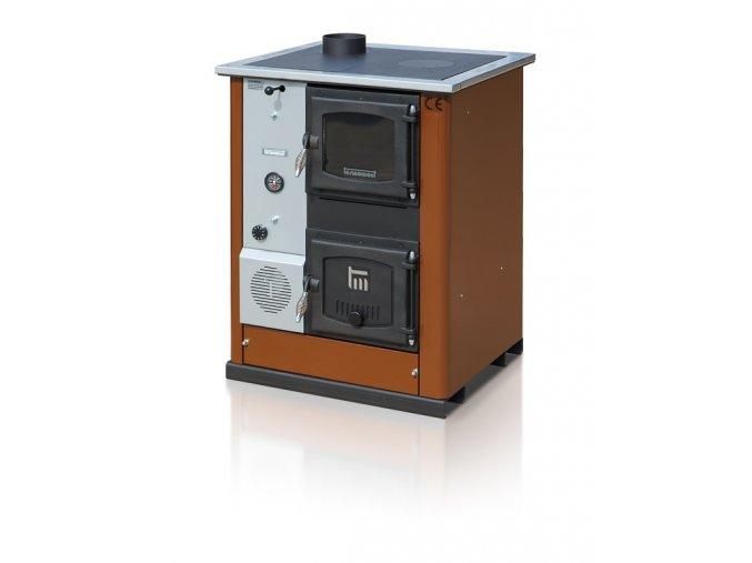 TEMY PLUS18 LEVÝ HNĚDÝ teplovodní sporák - interiérový kotel, teplovodní výkon 13kW