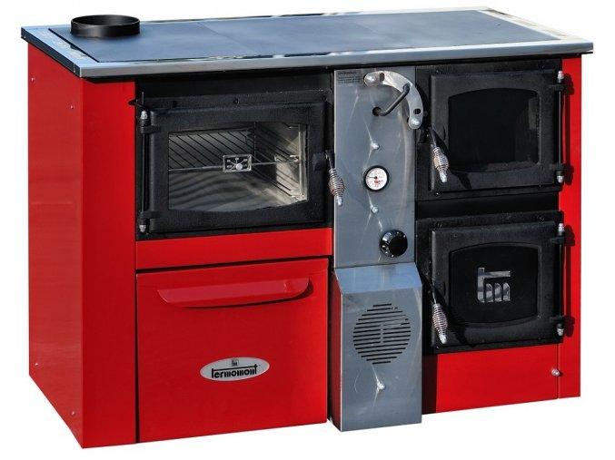 TEMY PLUS P25 LEVÝ ČERVENÝ teplovodní sporák - interiérový kotel, teplovodní výkon 17kW