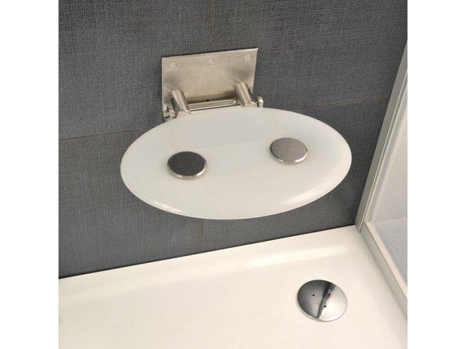 RAVAK OVO P OPAL sprchové sedátko nerez/průsvitně bílá