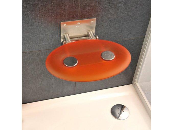 RAVAK OVO P ORANGE sprchové sedátko nerez/průsvitně oranžová