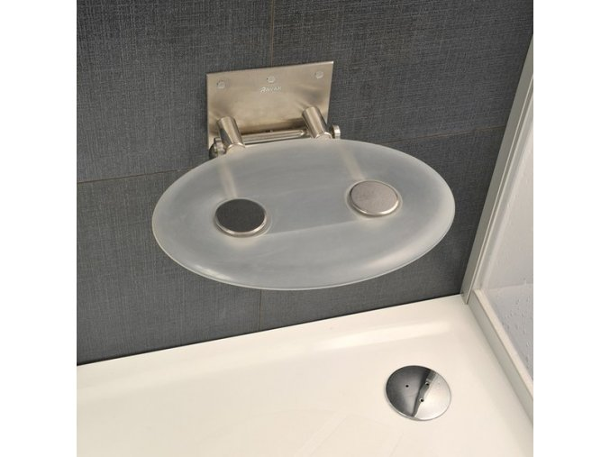 RAVAK OVO P CLEAR sprchové sedátko nerez/čiré