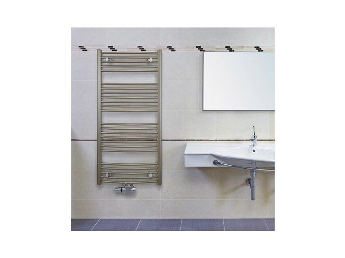 KRCM 900.750 koupelnový žebřík 90/75 cm bílý, prohnutý, středové připojení