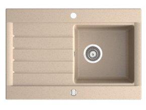 NOVA DRG52/78S granitový dřez s odkapem 52/78cm, barva Písek