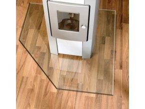 LB 21.02.982.2 sklo pod kamna 8mm, 110x110cm, tvar čtverec se zkoseným rohem