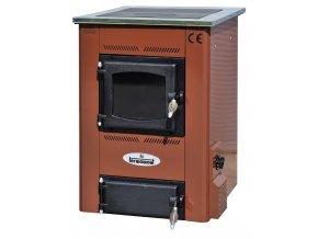 TEMY S15 HNĚDÝ teplovodní sporák - interiérový kotel, teplovodní výkon 11kW