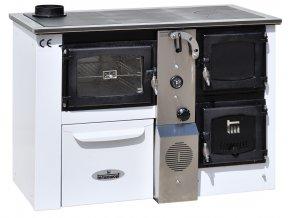 TEMY PLUS P25 LEVÝ BÍLÝ teplovodní sporák - interiérový kotel, teplovodní výkon 17kW