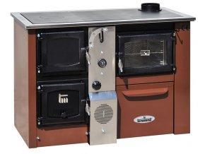 TEMY PLUS P25 PRAVÝ HNĚDÝ teplovodní sporák - interiérový kotel, teplovodní výkon 17kW