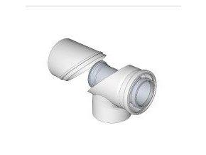 KOUŘ B52103203 koaxiální kontrolní koleno 80/125/87° pro odvod spalin kondenzačních kotlů