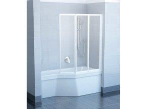 RAVAK VS3 115 BÍLÁ TRANSPARENT trojdílná skládací sprchová zástěna 115cm na vanu