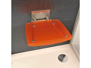 RAVAK OVO B ORANGE sprchové sedátko nerez/průsvitně oranžová