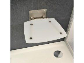 RAVAK OVO B OPAL sprchové sedátko nerez/průsvitně bílá