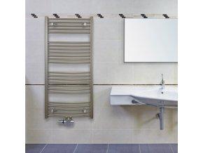 KRCM 700.600 koupelnový žebřík 70/60 cm bílý, prohnutý, středové připojení