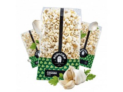 česnek popcorn