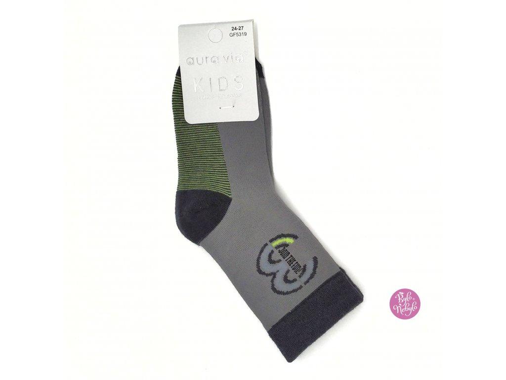 Dětské obrázkové ponožky Aura.Via Šedé (85% bavlna)