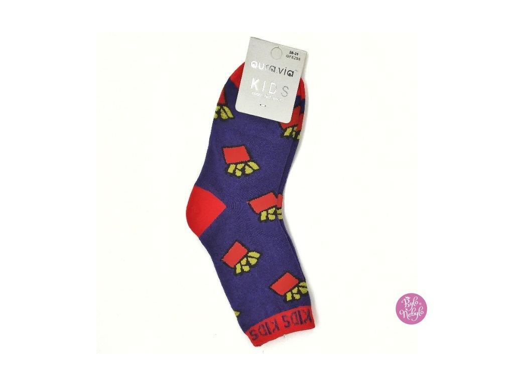 Dětské obrázkové ponožky Aura.Via - Fialové (85% bavlna)