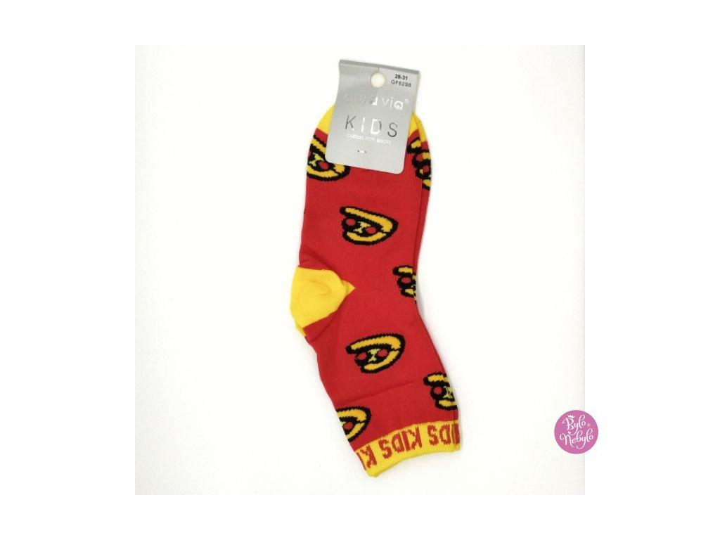 Dětské obrázkové ponožky Aura.Via - Červené (85% bavlna)