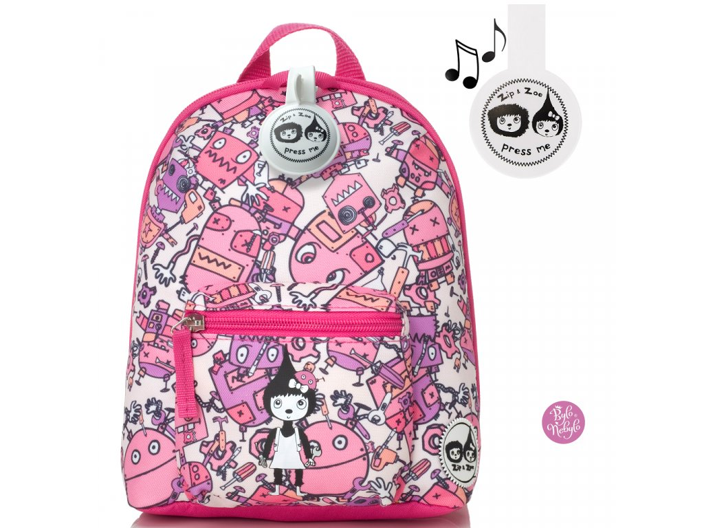 babymel zip zoe mini backpack robot pink 26068 p