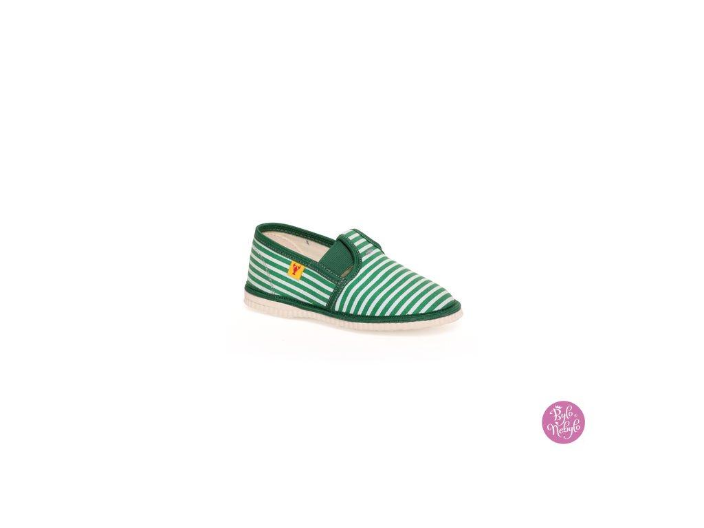 detska obuv papuce zeleny pasik 122.thumb 409x369