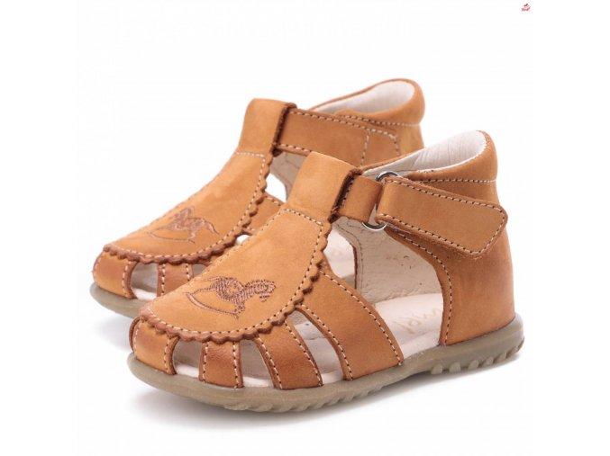 Dětské kožené sandálky EMEL E1670-11 Hnědá