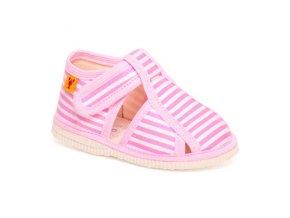 detska obuv papuce ruzovy pasik