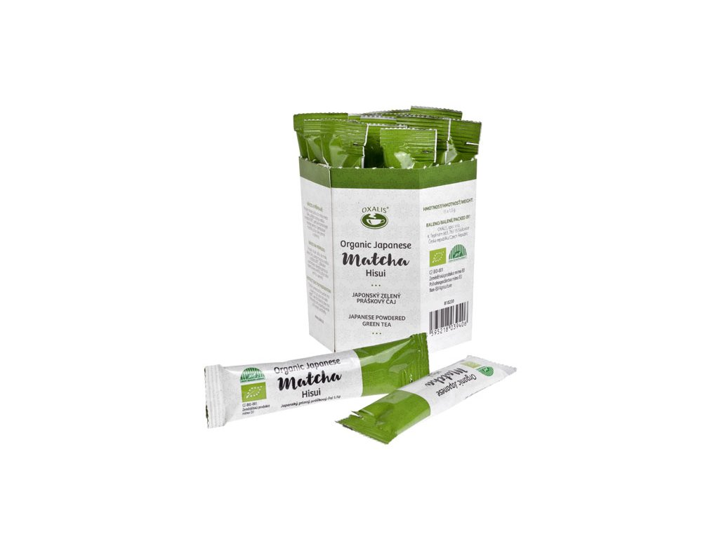 Práškový zelený čaj Matcha Hisui BIO, 15x 1,5g