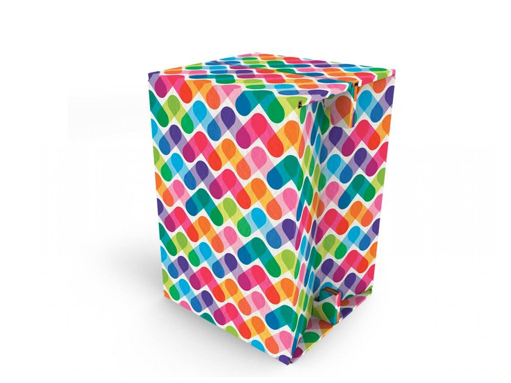 Carton Cajon Colored Stripes front 1