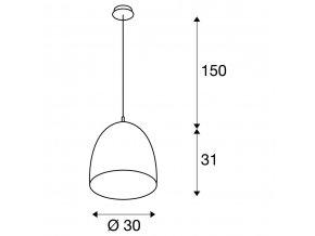 106244 slv 133010 para cone 30 zavesna leskla cierna 230v e27 60w