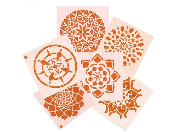 Plastová mandalová šablona 9x9 cm (24 vzorů)