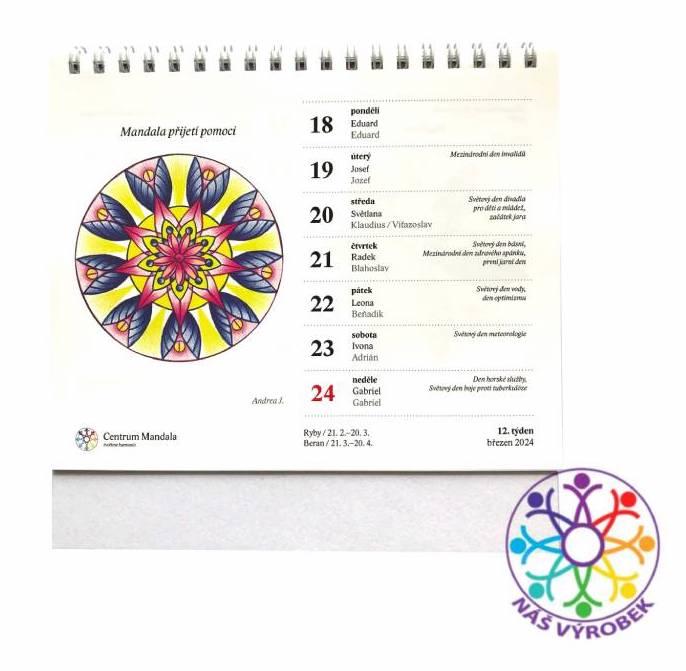 Stolní mandalový kalendář s mandalovými kartami mandalový kalendář