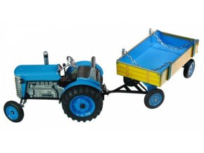 Traktor s valníkem modrý