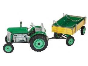 Traktor s valníkem zelený