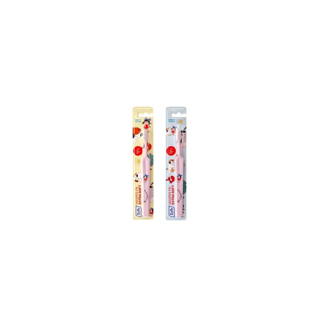 Zubní kartáček TePe Select Compact x-soft s MAXIPSEM FÍKEM - růžový