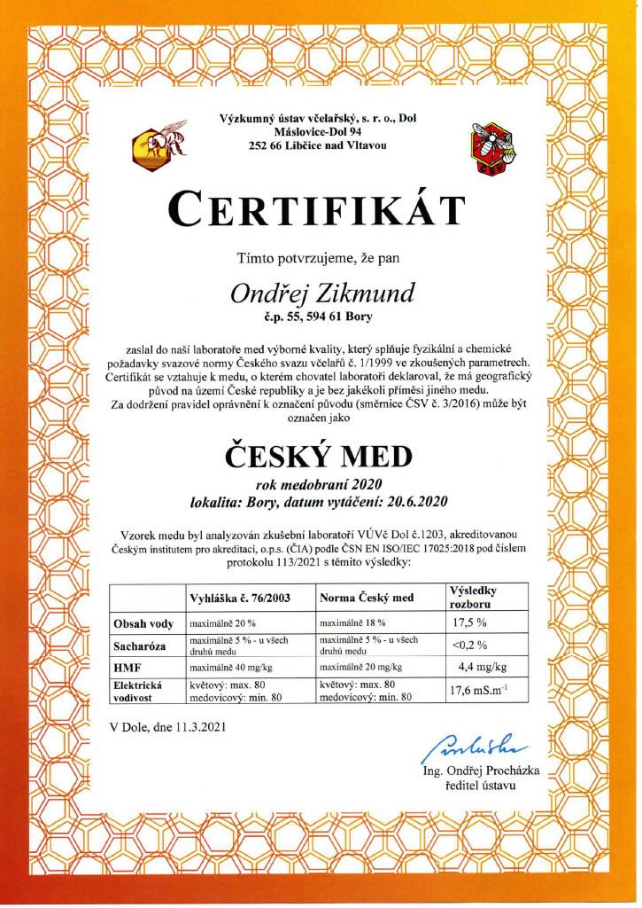 Certifikát o kvalitě našeho medu
