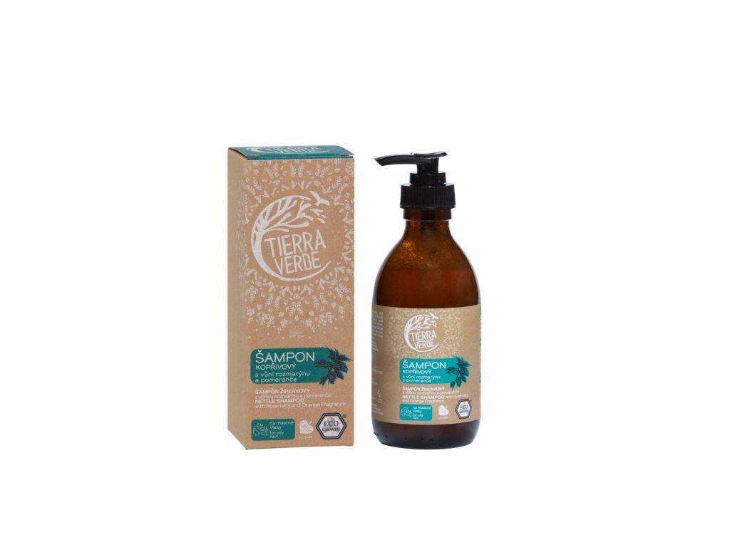 Tierra Verde – Šampon kopřivový svůní rozmarýnu a pomeranče, 230 ml