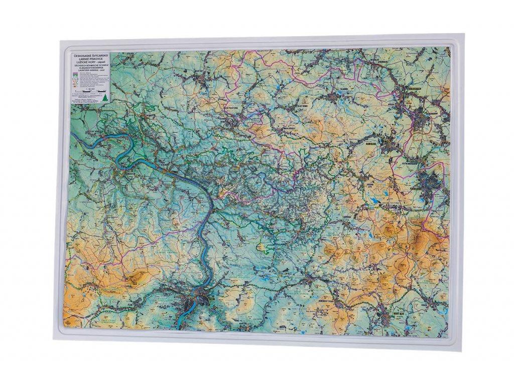 Plastická 3D mapa NP Českosaské Švýcarsko
