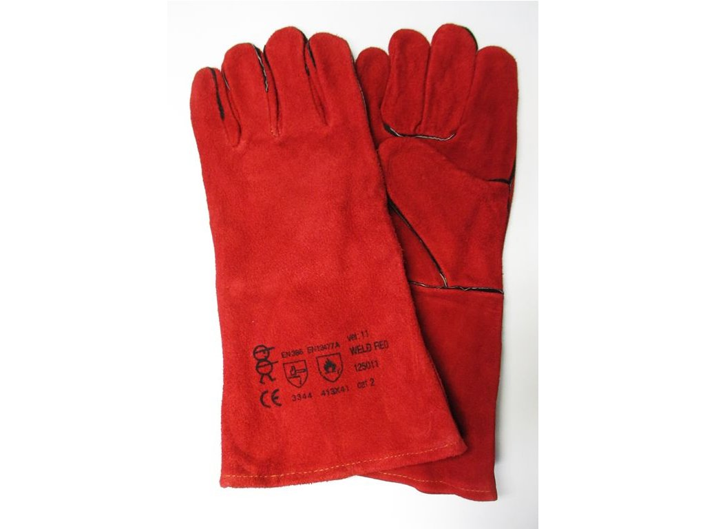 1609 rukavice svarecske v 11 cervene