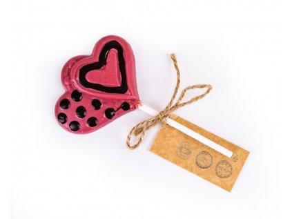 Čokoládové lízátko růžové s hořkou čokoládou - srdíčko