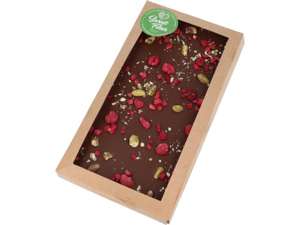Maxi tabulka 300g Sweet Fiber - pistácie + mrazem sušené maliny