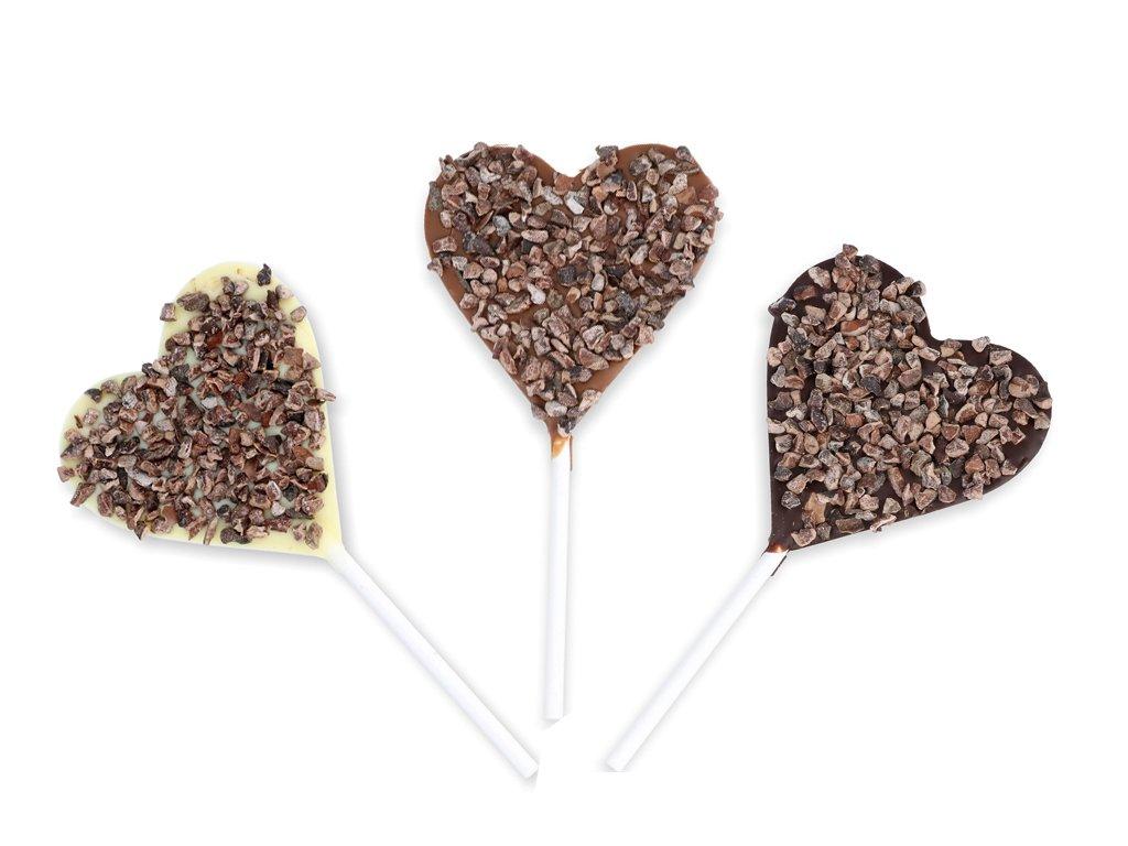 Čokoládové srdíčkové lízátko - kakaové boby