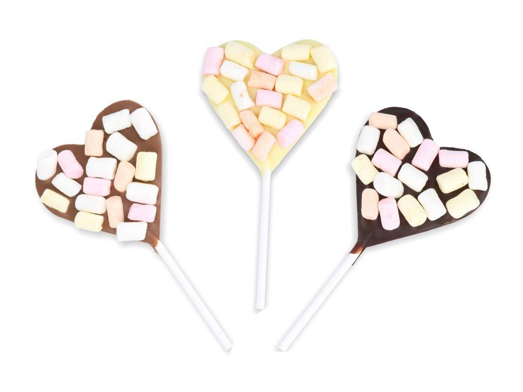 Čokoládové srdíčkové lízátko - marsmallow